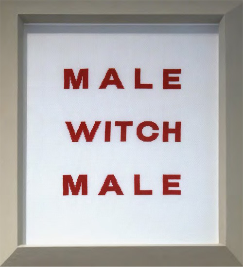 MALE WITCH, 1994 ALT/O 6 Stoff mit Stickerei 63 x 53